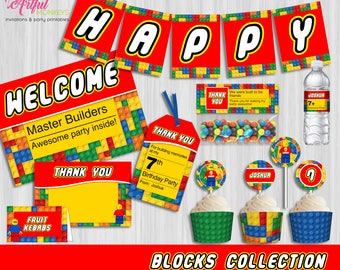 Printable Building Blocks Party Collection | Personalized