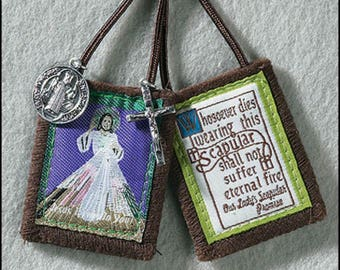 Scapular Necklace Divine Mercy - Cloth
