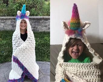 Unicorn blanket, Unicorn throw, Unicorn wrap, Unicorn lap blanket, Unicorn hooded blanket, Blanket with hood, Unicorn crochet blanket