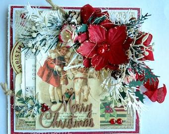Beautiful Handmade Shabby Chic Christmas Greeting Card #WC2017-MC
