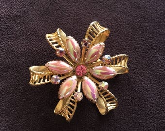 Vintage Iridescent Pink, Pink and AB Pink Rhinestones on Gold Toned Metal Snowflake/Flower Brooch 1408