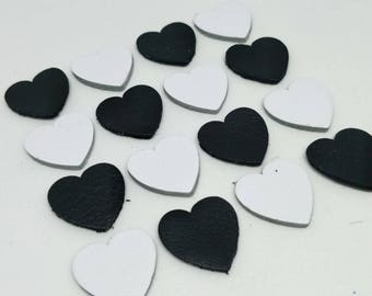 Leather Hearts, 50 Pcs., Black and White, 4 sizes 15mm. 20mm. 25mm. 30mm., Leather Hearts Die Cut, Hearts Die Cut, Leather Decoration.
