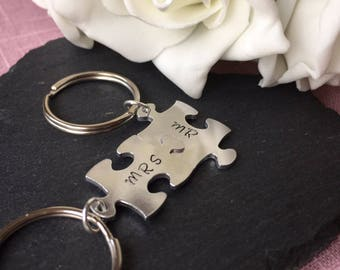 Couples Keyring, Puzzle keychain Hand stamped key chain, Mr and Mrs key chain, stocking gift