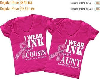 ON SALE - i Wear Pink for my Grandma, Mom, Wife, Daughter, Aunt, Cousin, Sister and Friend (Fuchsia) - Ladies' V-neck