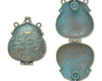 "Purse Pendant, Patina Pendant, Magnetic Closure, Steampunk, Victorian, 2x1.75"", 1 piece, D1073"
