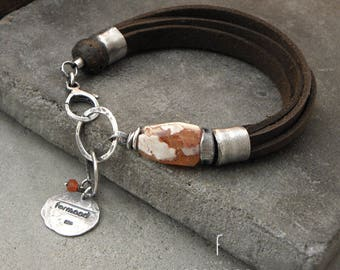 Mexican fire opal, amber  and  oiled brown leather- bracelet