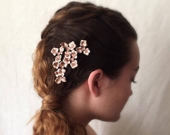 Rose Gold Flower Hair Pins, Rose Gold Hair Pins, Rose Gold Hair Accessories, Rose Gold Hair Clip, Rose Gold Wedding Hair Accessories