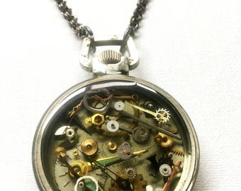 steampunk pocket watch filled with resin