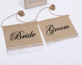 Bride Groom Wedding Chair Banners,Jute,Hessian,Burlap Banner,Reception Banners,Wedding Decor,Photo Prop
