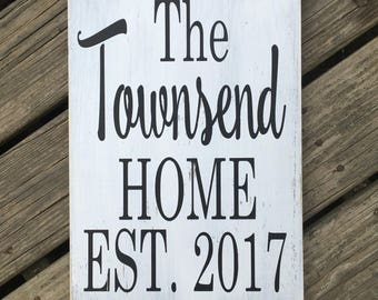 Personalized family name and est date sign Closing gift/ housewarming / new home sign