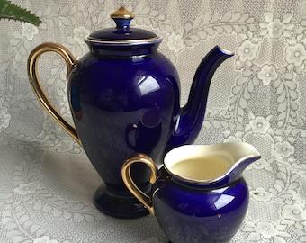 Steubenville Cobalt Porcelain/Bohemian Blue Tea pot and Creamer
