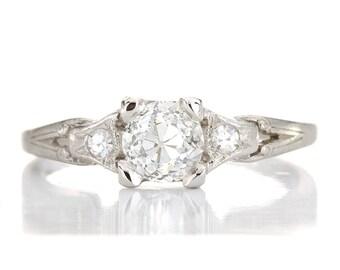 Vintage diamond engagement ring platinum 0.67 ct. GIA H VS1 Old European diamond engagement ring. Art Deco period . signed