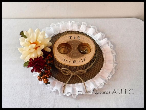 Ring Box/Wedding Ring Holder-Ash/Free Personalized/Rustic Wood Slice/Alternative Ring Bearer Pillow/ Log Ring Holder/Rustic Wedding Decor
