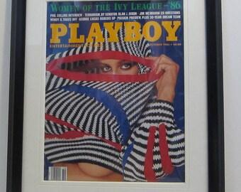 Vintage Playboy Magazine Cover Matted Framed : October 1986 - Sharon Kaye