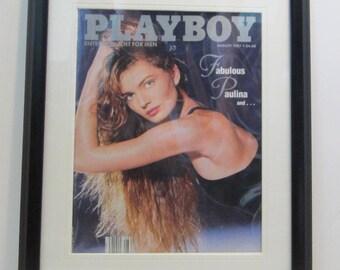 Vintage Playboy Magazine Cover Matted Framed : August 1987 - Paulina Porizkova