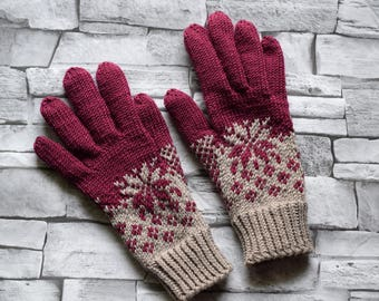 Womens wool gloves, soft wool, winter gloves, hand knit grey and marsala gloves with colorwork