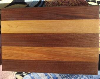 Handmade edge-grain cutting board (walnut & hickory)