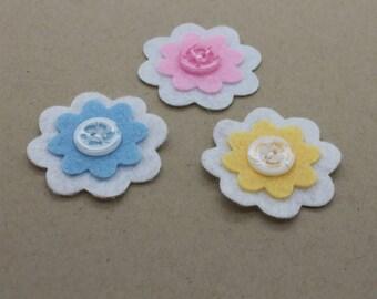 Trio of handmade felt flowers