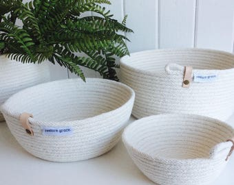 Leather detail stitched rope bowl // Storage Basket // Gift // Homewares // Key Bowl // Jewellery Basket // Storage // Leather