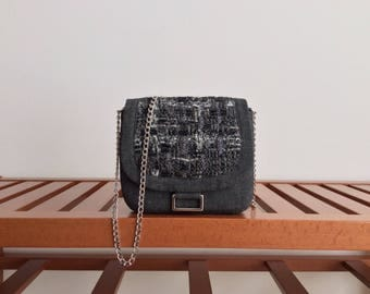Wool Tweed pochette with cotton