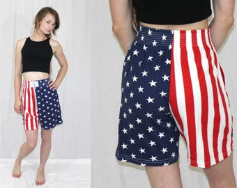 Vintage 80s Red White Blue STARS & Stripes USA Bodybuilding Boxing Shorts S