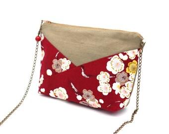 Trousse en coton marron clair et tissu japonais rouge à fleurs blanches