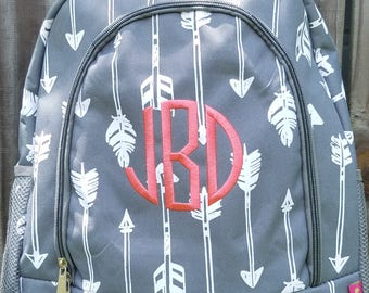 Gray Arrow Backpack/Bookbag - Personalized/Monogrammed