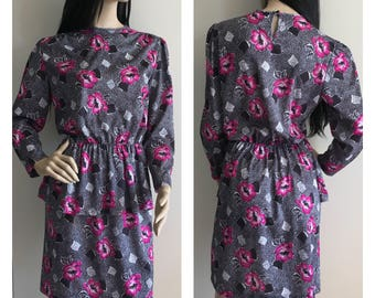Vintage 80s Navy Floral Dress with Peplum - Office Fashion - Small