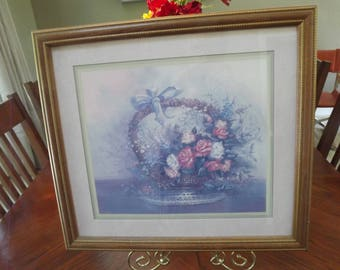 retired home interiors and gifts lithograph by carl valente solid wood frame in oak finish double