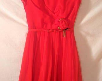VALENTINES SALE Vintage 1950s Red Crepe Party Dress