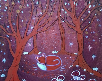 Sweet fairy - Nathalie Ragoust Nuit-peinture-acrylique-renard-foret-univers