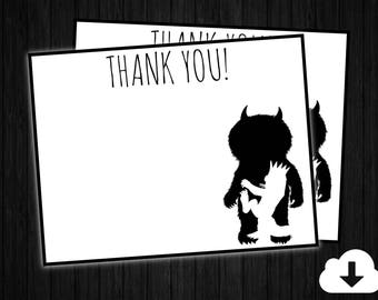 Where the Wild Things Are Blank Thank you card ONLY, Where the wild things are invitation, where the wild things party supplies, wild thing