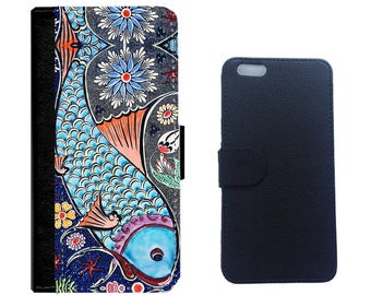 Blue Fish on Leather Wallet Case Cover for iPhone 7/7+, 6/6 plus, 5/5s, 4/4s and Galaxy Note 5,4,3,2,Galaxy S7,S6,S5,S4 Cellphone Cover