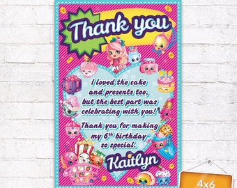 Shopkins Thank you Card Shopkins Favor Tag Shopkins Birthday Party Goodie Bag Tag with matching Invitation Customized Digital File