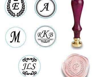 Custom Monogram Wax Seal Stamp Custom Sealing Wax Stamp Kit Initial Wax Seal Custom Initial Date Wedding Invitation Personalized Wax Stamp