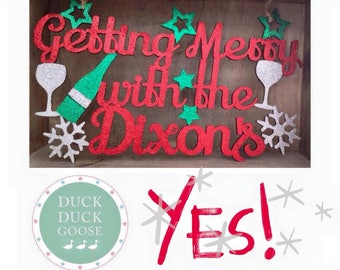 Getting Merry Christmas Personalised Hanging Plaque by Duck Duck Goose