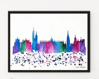 Krakow Skyline, City art, Watercolor painting, Travel Illustration, Art Print, Housewarming Gift, Wall art, Home Decor, Holiday gift