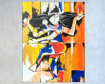 Indian decor, Shiva art, Abstract Indian art, Nataraja, Asian decor, Painting on canvas, Indian Painting, Hindu God, Modern Indian art