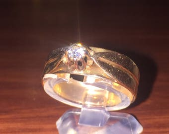 14K Rose Gold and Diamond Vintage Mens' Ring. Circa 1940's. With Valuation.