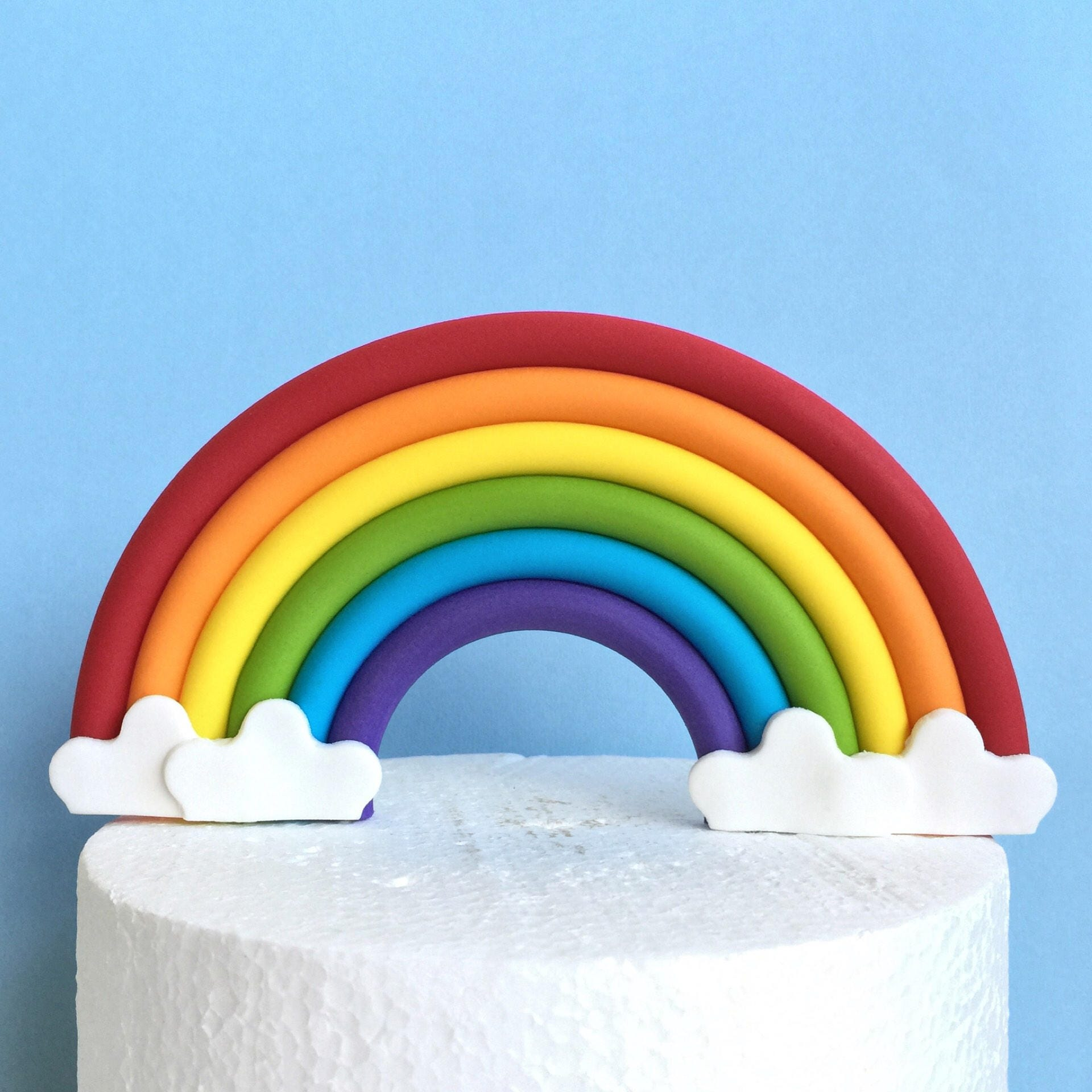 SALE Rainbow cake topper. Edible fondant rainbow cake