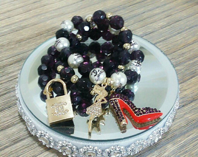 Designer Inspired Lady & Heels Purple Charm Bracelet Set