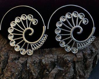 hoop earrings, spiral hoop earrings, Spiral earrings, Tribal earrings, ethnic earrings, Boho hoop earrings (E662)