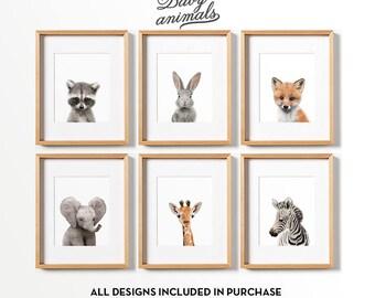 Baby animal prints, PRINTABLE art, Woodland animals, Safari animals, Nursery wall art, Nursery safari prints, Nursery decor, Nursery animal