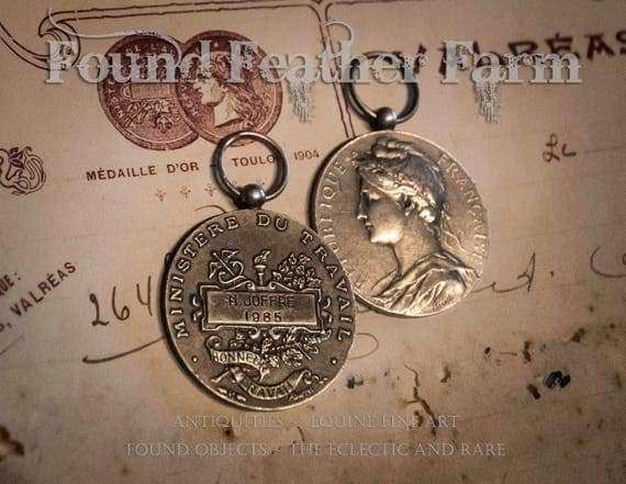 Beautiful French Pewter Silver Medallion of Honor 1985