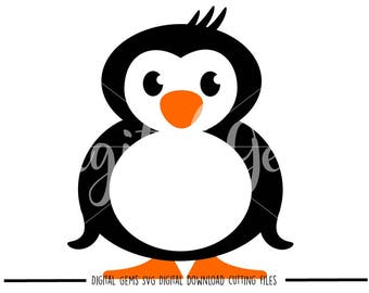 Penguin svg / dxf / eps files. Digital download. Small commercial use ok.