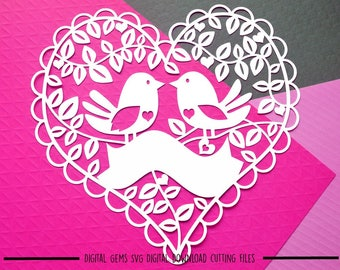 Love bird paper cut SVG / DXF / EPS files and a printable template for hand cutting. Digital Download. Small commercial use ok