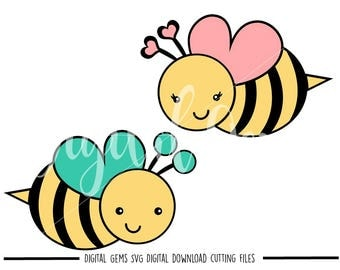 Bee, Bees svg / dxf / eps / png files. Digital download. Compatible with Cricut and Silhouette machines. Small commercial use ok.