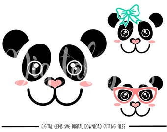 Panda faces svg / dxf / eps / png files. Digital download. Compatible with Cricut and Silhouette machines. Small commercial use ok.
