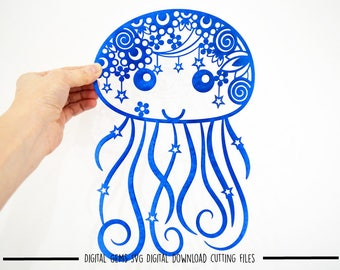 Zentangle Jellyfish paper cut svg / dxf / eps / files and pdf / png printable templates for hand cutting. Download. Small commercial use ok.