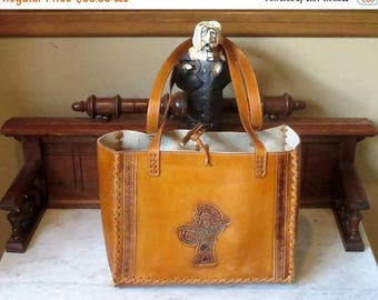 Back To School Sale Tooled Leather Market Bag With Aztec Gods - Made In Mexico- EUC